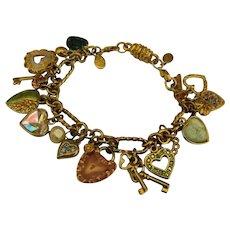 Loaded Kirk's Folly Hearts & Keys Charm Bracelet