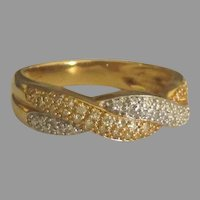 Attractive 14K White and Yellow Gold Diamond Pave Ring