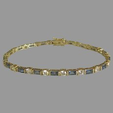 Vintage Gold Washed Sterling Blue and Clear Stone Bracelet