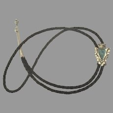 Vintage Navajo Sterling Arrowhead Turquoise Leather Bolo
