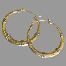 Etched 14K Sterling Hoop Pierced Earrings