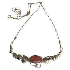 Beautiful vintage Amber Sterling Necklace with Leaves