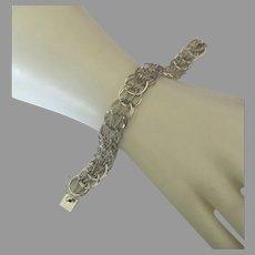 Italian Signed Fancy Link Sterling Bracelet