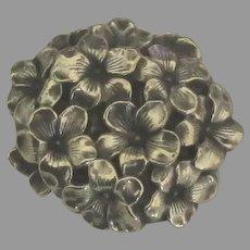 1930's Sterling Dimensional Flowers Brooch