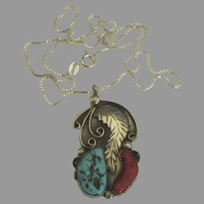 Vintage Navajo Sterling Turquoise Coral Feather Pendant and Chain