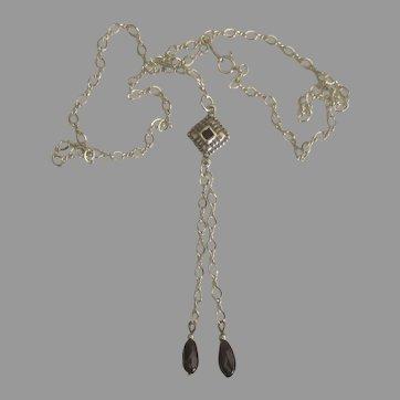 Feminine Lacey Sterling Garnet Double Drop Necklace
