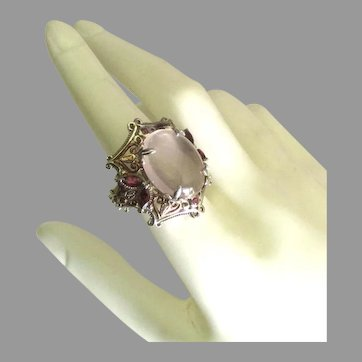 Spectacular Sterling Rose Quartz Garnet Ring with Gold Overlay