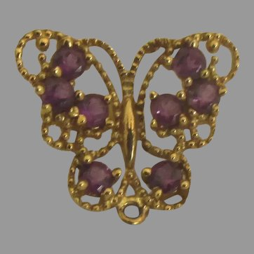 Pretty 10K Amethyst Butterfly Single Pierced Earring