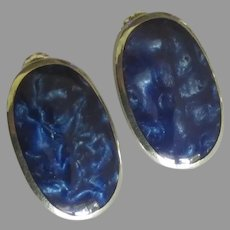 Sleek Sterling Lapis Blue Pierced Earrings