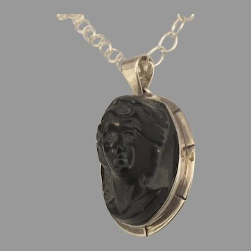 Stunning Sterling Carved Obsidian Cameo Pendant with Chain