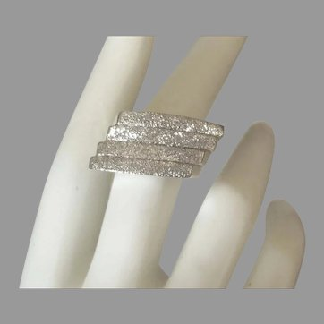 Stunning Modernist Signed Sterling Pave Finish Ring