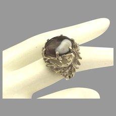 "Artisan Vintage Art Glass Sterling ""Twig"" Setting Ring"