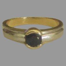 Sleek 14K White and Yellow Gold Sapphire Ring