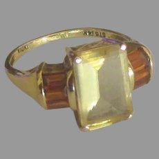 Estate 14K Citrine Carnelian Ring- Size 5  3/4