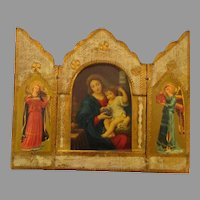 Beautiful Vintage Italian Madonna with Child and Angels Triptych