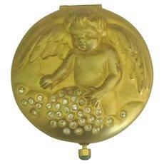 Gold Rhinestone Estee Lauder December Cherub Compact