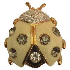 Sparkling Enamel Rhinestone Joan Rivers Lady Bug Brooch