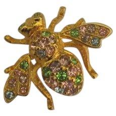 Pretty Pastel Rhinestone Joan Rivers Bee Pin