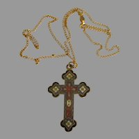 Beautiful Vintage Champleve Enamel Cross with GF Chain