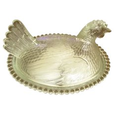 Vintage Indiana Glass Covered Chicken Dish with Glass Eggs