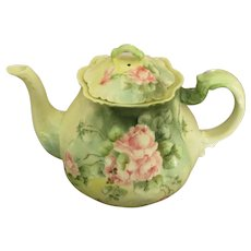 Late 1800's Hand Painted H & C Limoges Roses Teapot