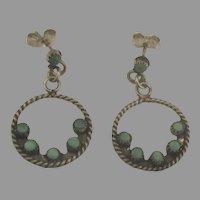Vintage Zuni Sterling Turquoise Pierced Earrings
