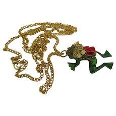 Charming Enamel Christmas Frog Santa Pendant and Chain