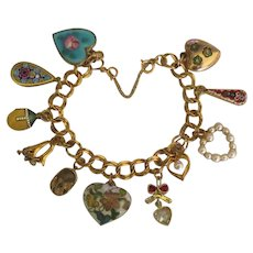 Beautiful Vintage GF Hearts & More Charm Bracelet