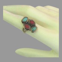 Vintage Navajo Sterling Turquoise Coral Ring- Size 6  1/2