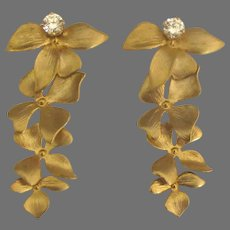 Beautiful 14K CZ Pierced Earrings with Gold Fill Plumeria Blossoms Jackets