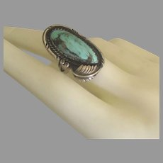 Beautiful Vintage Navajo Sterling Turquoise Feather Ring