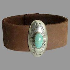 Vintage Sterling Turquoise Concho Bracelet