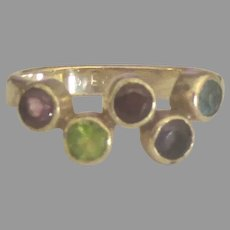 Pretty Sterling Gemstone Ring- Size 6  1/4