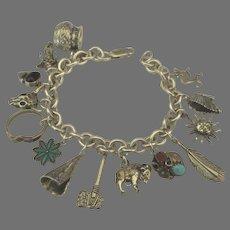 Loaded Vintage Sterling Southwest NA Theme Charm Bracelet