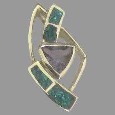 Attractive Sterling Amethyst Gelson Opal Slide Pendant