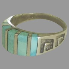 Exceptional Vintage Sterling Inlaid Chalcedony Ring- Size 10  1/4