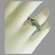 Vintage Sterling Crushed Turquoise Inlay Band Ring- Size 8  1/4