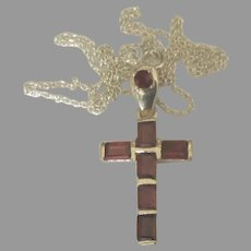 Beautiful Sterling Garnet Cross and Chain
