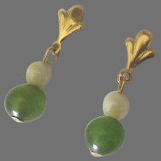 Pretty 14K Jade Pearl Pierced Earrings