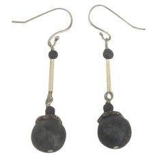 Vintage Sterling Lapis Lazuli Dangle Pierced Earrings