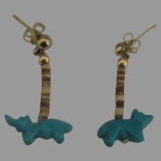Vintage Turquoise Animals Heishi Pierced Earrings