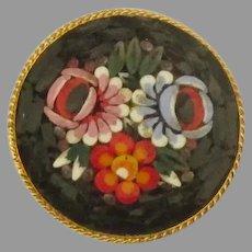 Lovely Vintage Italian Micro Mosaic Floral Brooch- 1 1/2 Inch Diameter