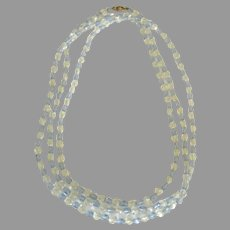 Vintage Blue and Clear Crystal Bead Necklace- 56 Inches
