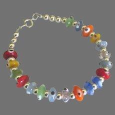 """Lovely Sterling Glass """"Evil Eye"""" Bead Bracelet"""
