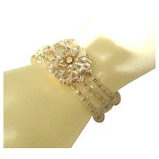 Stunning Miriam Haskell Molded Glass Flower 3 Strand Bracelet