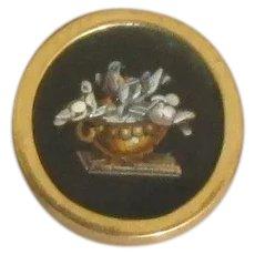 Antique Victorian 14K Micro Mosaic Onyx Pin