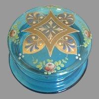 Antique Bohemian Glass HP Casket Box