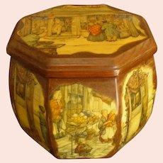 Vintage Octagonal Anton Pieck Decoupage Purse Box