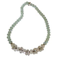 Elegant Czech Crystal Blue AB Cluster Bead Necklace