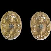 Late 1800's 14K Art Nouveau Diamond Pierced Earrings